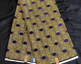 6yd Yellow/ purple white African Fabric/ African Wax print/ Ankara/ African Cloth/ African Material/ Nigeria/Ghana cloth