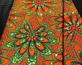 GHYG African fabric per yard Green orange floral African Fabric/ African Wax print/ Ankara/ African Material/ cloth/ wrapper