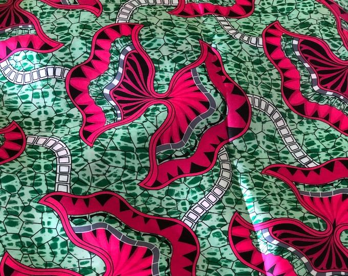 SK1 5 yards Silk Pink green Bow reef Design gorgeous African Silk print/ african silk fabric/ ethnic silk fabric/ African doll cloth