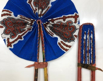 Royal Blue brown white turtle african wedding favor ethnic print fabric round windmill style handmade hand fan with leather trim folding