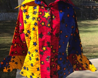 Size 12 Red/Blue/yellow Flute long sleeve African Fabric women's shirt