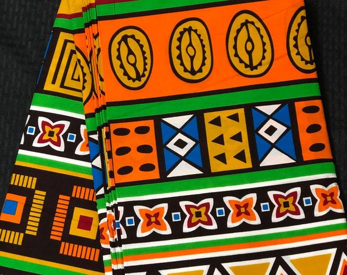 MC15 African fabric per yard multicolor orange yellow white green Mudcloth Design ankara/ african Material/ Cloth/ wrapper/Head tie