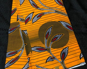 African print per yard red yellow/orange sun moon leaf African fabric/ African clothing/ African home decor/ ethnic print/ African material