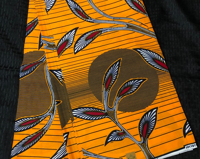 OS11 African print per yard red orange sun moon leaf African fabric/ African clothing/ African home decor/ ethnic print/ African material