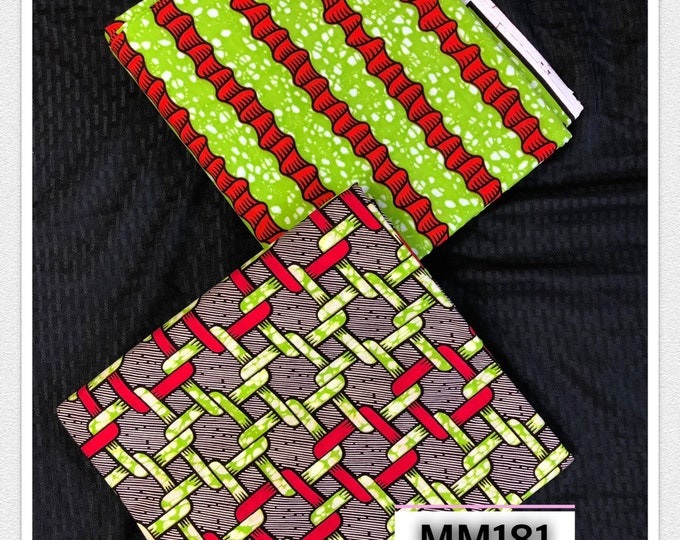 MM181 3 yards each lime Green red Mix Match African Wax/ African Fabric/ankara/ Material/ decor pillows/ african cloth dolls