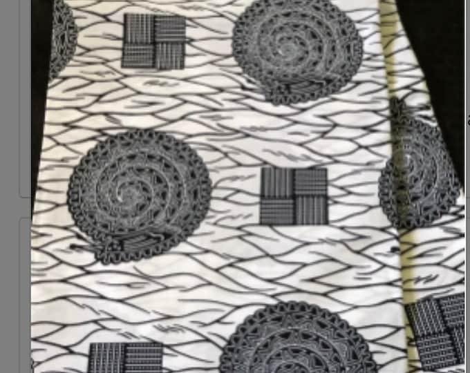 BW66 6 yard Black white snail Bible African Fabric/Print/ ankara/ ethnic cloth/ traditional cloth/ home decor pillow/ Doll cloth/ Sewing