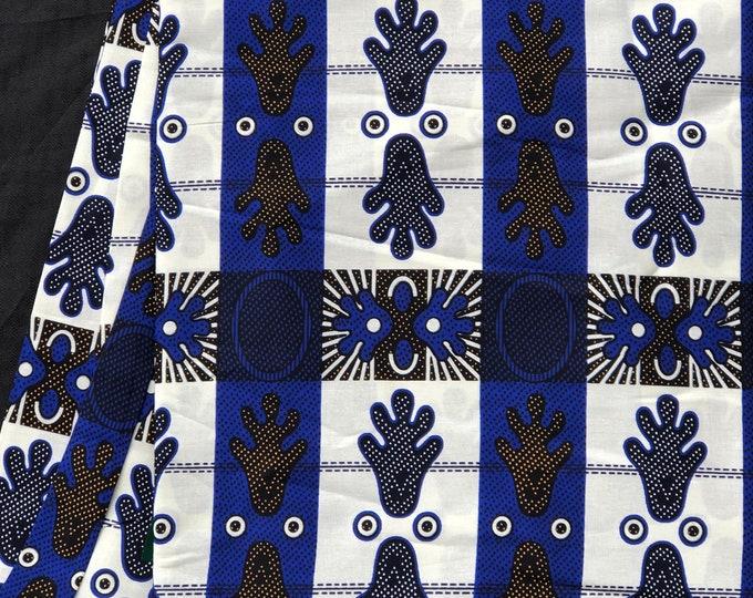 BLW1 African fabric per yard amoeba royal Blue white orange ankara/ african Wax Print/ ethnic print/ African material/ home deco