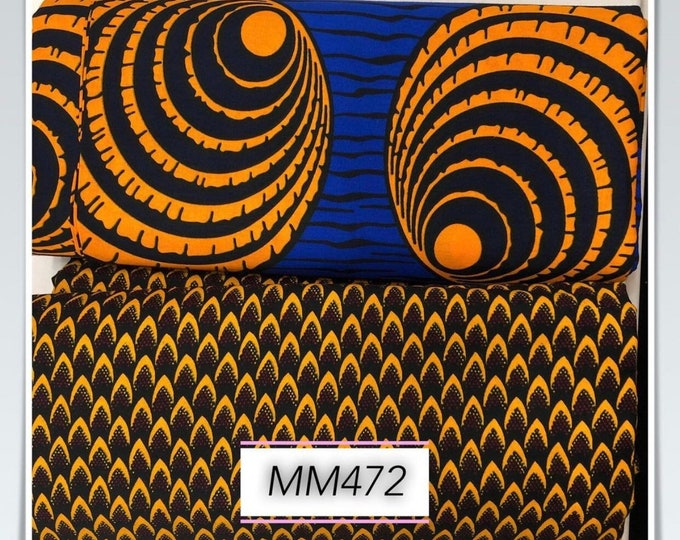 MM472 Blue brown mix ethnic print Mix and Match African Ankara Fabric Print 3 yards each