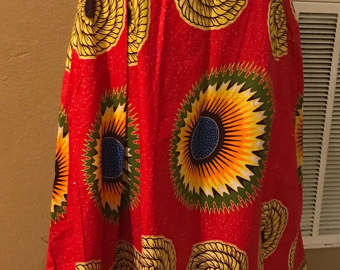 Medium Size ( M) Red  sunflowers design Maxi Skirt African skirt/ Ankara skirt: ethnic skirt/ Nsubura