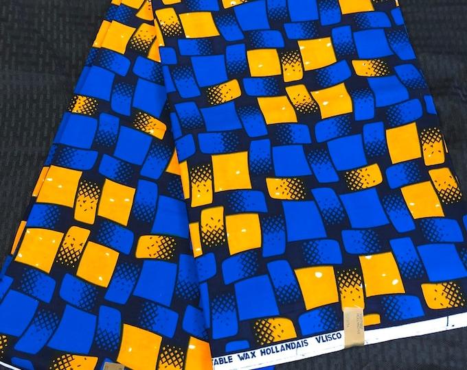 African fabric per yard Royal Blue/orange ribbon geometric squares african Fabric/ african Wax print/ Ankara/ Material/ cloth/ wrapper