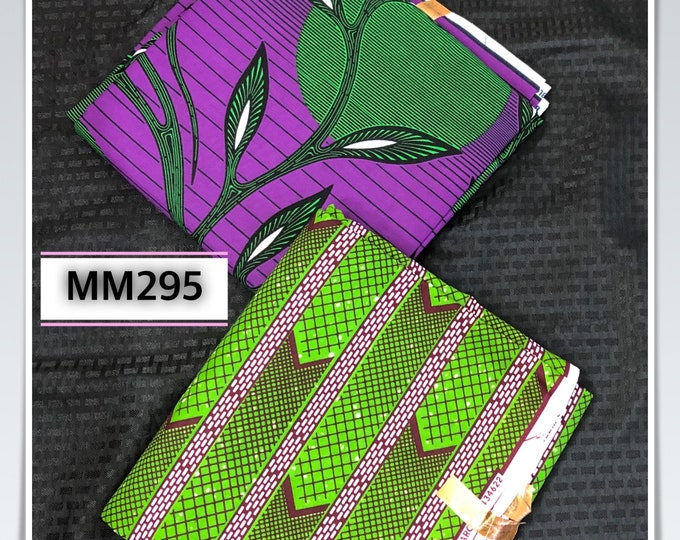 MM295 3 yards each Purple/ Green Mix and Match African Fabric/ African Wax print/ Ankara/ African Material/ African Cloth/ wrapper