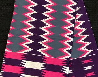 K643 6 yard fuchsia pink/royal purple white  kente african Fabric/ kente Wax print/ kente cloth/ Material/head wrap