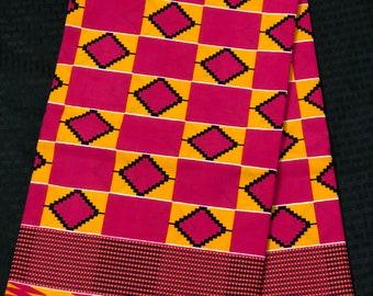 K640 6 yards pink/yellow green kente african Fabric/ kente Wax print/ kente cloth/ Material/head wrap