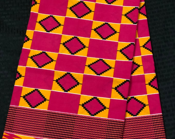 K640 6 yards pink/yellow green kente african Fabric/ kente Wax print/ kente cloth/ Material/head wrap