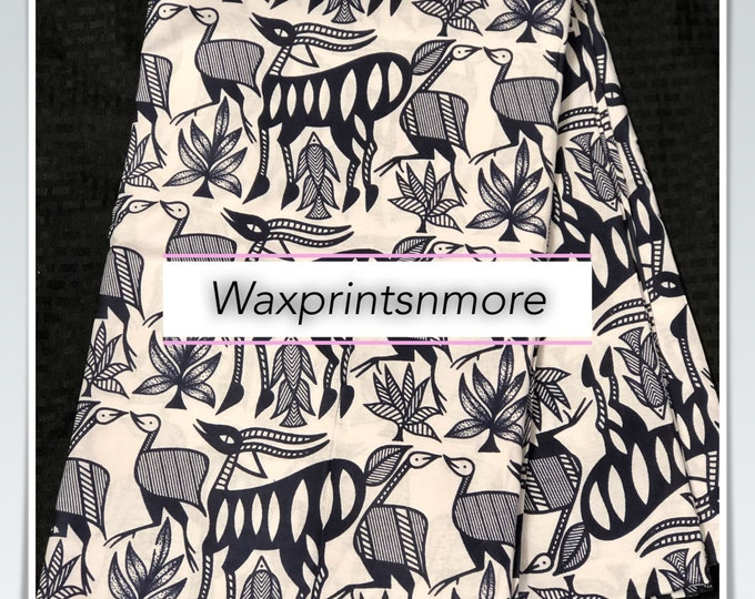 African fabric per yard navy Blue white gazelle ankara/ african Wax Print/ ethnic print/ African material/ home deco