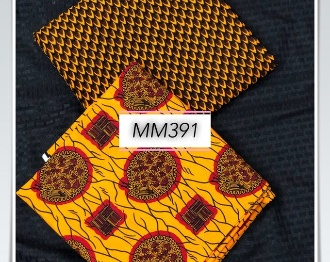 MM391 3 yards each pairing mixed prints honeycomb Brown yellow Mix and Match African Fabric/ Wax print/ Material
