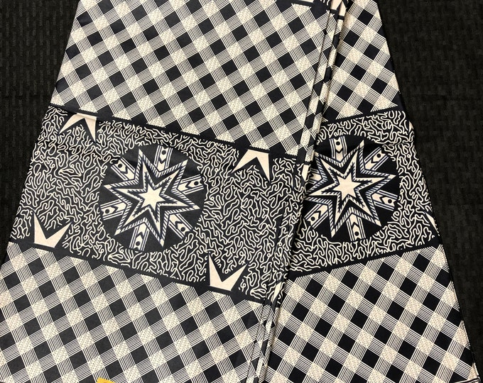 6 yd  navy Blue white star/checkerboard African Fabric/ African Wax print/ Ankara/ Sew Dress/ cloth dolls/ table napkins/ upholstery/pillows