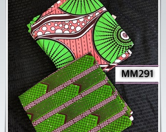 MM291 3 yd Each coral salmon Pink /kelly green white Mix and Match African Fabric/ ankara/ african print/ Material/ ethnic print/Doll cloth