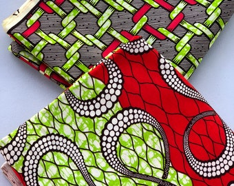 MM139 3 yards each lime Green red Mix Match African Wax/ African Fabric/ankara/ Material/ decor pillows/ african cloth dolls