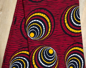 RY624  6 yards White/ yellow black red  African Fabric/ African Wax print: Ankara for Sewing Dresses/African art/tribal print