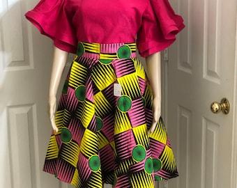 Yellow pink knee length african fabric skirt / ethnic skirt / dashiki skirt / women wear/Ankara/African wax print skirt