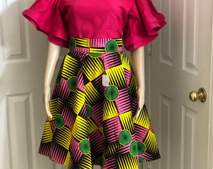 Yellow pink knee length african fabric skirt / ethnic skirt / dashiki skirt / women wear/Ankara/African wax print skirt
