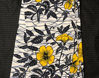 WYB6 White/ yellow black 6 yards floral African Fabric/ African Wax print: Ankara for Sewing Dresses/ shirts/ African art/ Doll/decor