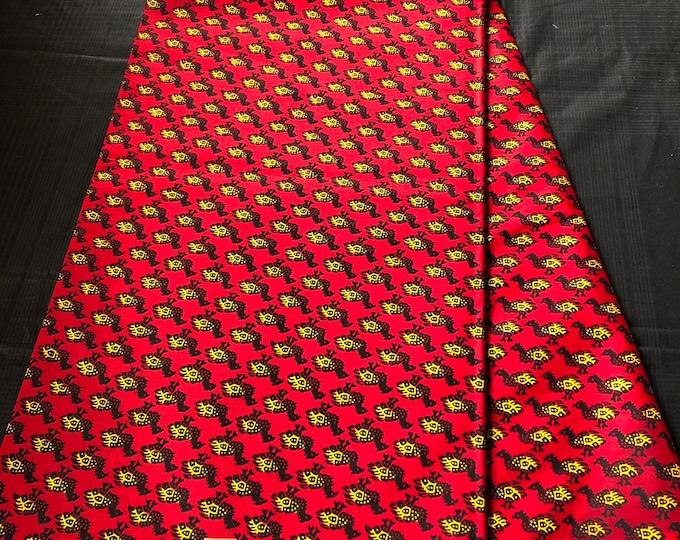 African Fabric per yard Red/ Yellow bird /African Wax print/ Ankara for Dress/ African cloth dolls/ African decor
