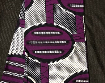 A6382 6 yards african fabric Royal Purple and white  design African fabric ethnic print  ankara wax print
