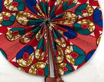 Red blue teal white Ankara african wedding favor ethnic print fabric round windmill style handmade hand fan with leather trim folding