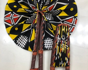 Black yellow red Kuba Ankara african wedding favor ethnic print fabric round windmill style handmade hand fan with leather trim folding