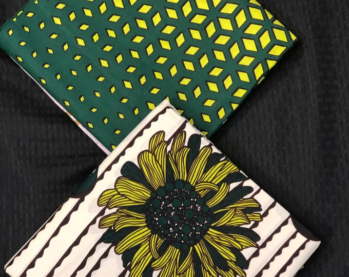 MM427 3 yards each  pairing lime green floral geometric White Mix and Match African Fabric/ Wax print/ Material