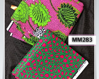 MM283 3 yards Each fuschia Pink /kelly green white Mix and Match African Fabric/ ankara/ african print/ Material/ ethnic print/Doll cloth