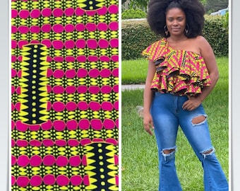 PIY61 6 yard pink yellow white black African Fabric/ African Wax print/ Ankara for Sewing Dress/ African hats/ art crafts/do
