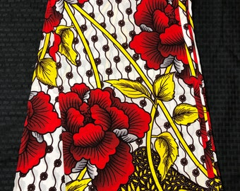 African fabric per yard White/  red/ Yellow floral leaf African Wax print/ Ankara for Sew Dress/ African Art/ cloth dolls