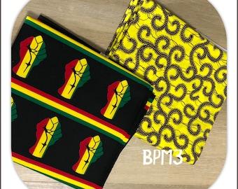 BPM3 Mix Match african fabric pair Yellow/black unity African Fabric/ ankara/ african Wax Print/ ethnic print/ African Material
