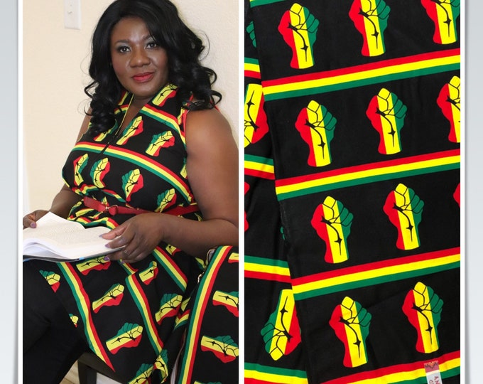 BP1 fabric by yard yellow red Black power kitenge African print/ African clothing/ African home decor/ ethnic print/ material