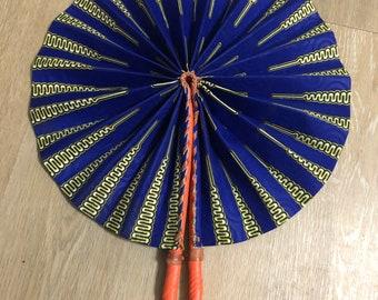 Blue yellow Nkrumah  Kente Ankara african wedding favor ethnic print fabric round windmill style handmade hand fan with leather trim folding