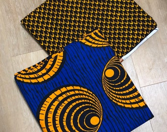 MM472 3 yards each blue gold orange  Mix Match African Wax/ African Fabric/ankara/ Material/ decor pillows/ african cloth dolls