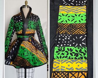 6 yards  Green black yellow mudcloth kuba print wholesale African Wax print/ African Fabric/ Ankara/ ghana Cloth/ Material