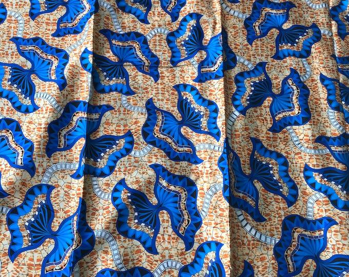 SK10 5 yards Silk White blue brown bow floral Silk print/ african silk fabric/ ethnic silk fabric/ African doll cloth
