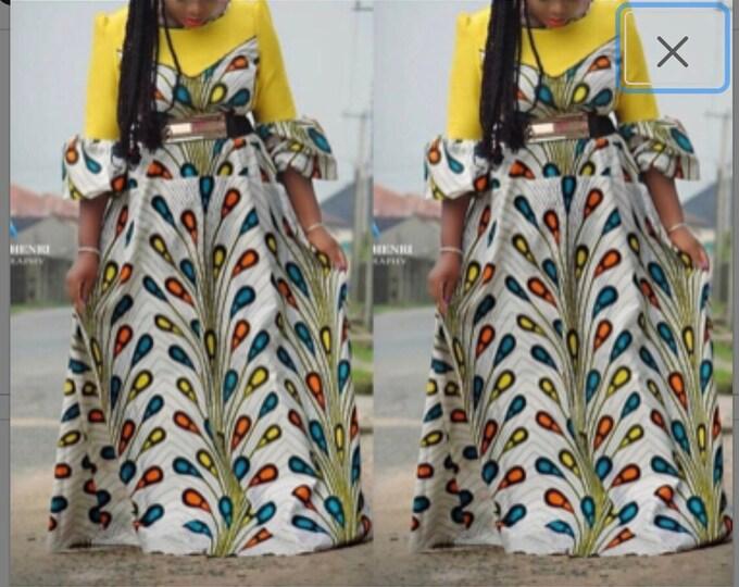A6117 6 yards African  Blue orange rain tear drop bulb african Fabric/ african Wax print/ Ankara/ Material/ cloth/ wrapper