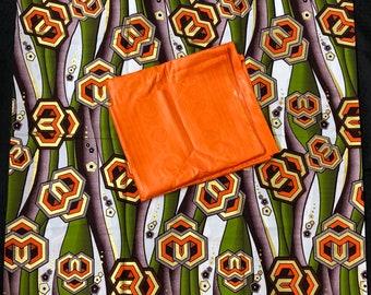 AB12 green gold orange Ankara/ Bazin mix  African Fabric/ African Wax print/ Ankara/ wrapper/ african Material