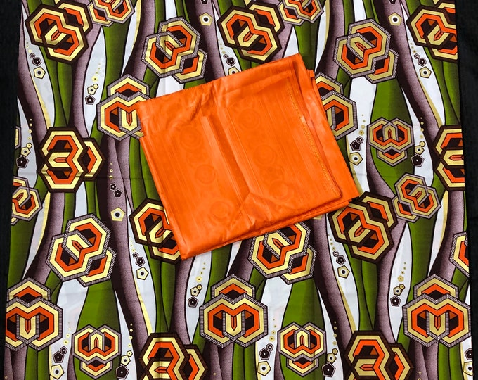 AB12 green gold orange Ankara/ Bazin mix  African Fabric/ African Wax print/ Ankara/ wrapper/ african Material