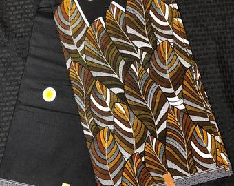 African fabric by the yard White/ brown/ orange/ black leaf Kitenge African Wax print/ Ankara for Sew Dress/ African Art/ cloth dolls