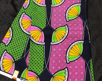 6 yard Pink/ Green floral African Fabric/ African Wax print/ Ankara/ African Cloth/ Material/ Ghana/ Nigeria Fabric