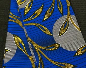 6 yards Royal Blue/yellow grey sun moon leaf  Kitenge african Fabric/ african Wax print/ Ankara/ Material/ cloth/ wrapper