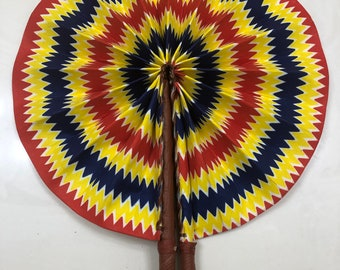 Blue yellow red  Ankara african wedding favor ethnic print fabric round windmill style handmade hand fan with leather trim folding