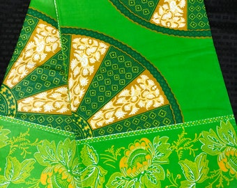 African fabric per yard Green yellow akuffo wheel of fortune / African Wax print/ Ankara/ African Material/ cloth/ wrapper