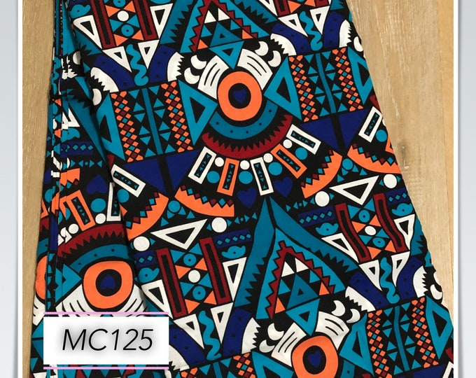 MC125 per yard orange Blue peach african Fabric/ kente Wax print/ kente cloth/ Material/head wrap/ethnic tribal print